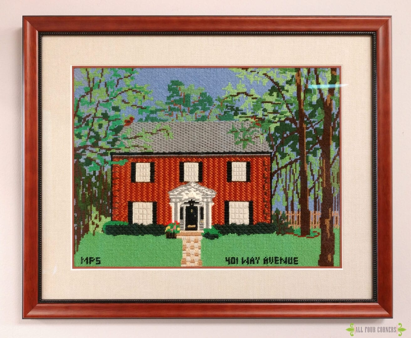full needlepoint framed in wood