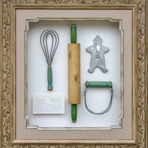 large shadowbox with baking materials