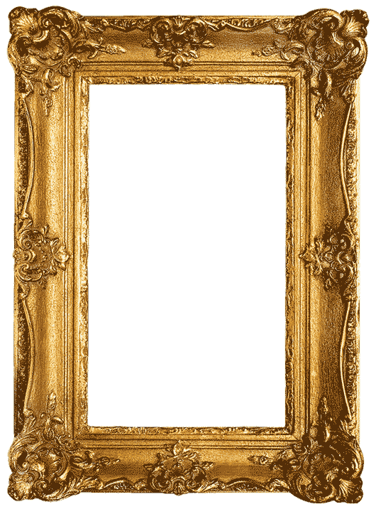 ornate frame with lavish details. painted gold.