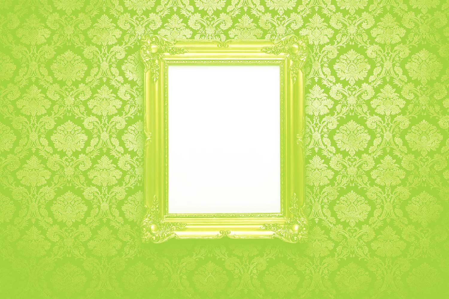 green ornate wall with green frame